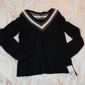 NWT Tommy Hilfiger Black & White V Neck Sweater XL